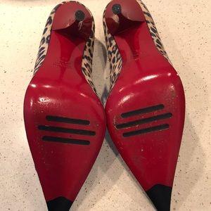 Loriblu Shoes - Loriblu Animal Print Red Heels Suede Pumps Sz 9